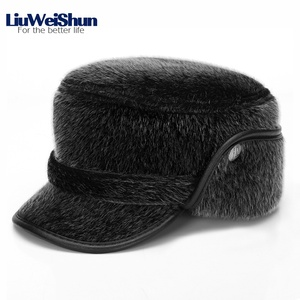 Image 5 - Winter Thicken Flat Top Bomber Hats Men Top Quality Russian Snow Hat with Earflaps Retro Faux Fur Warm Outdoor Bonnet for Men