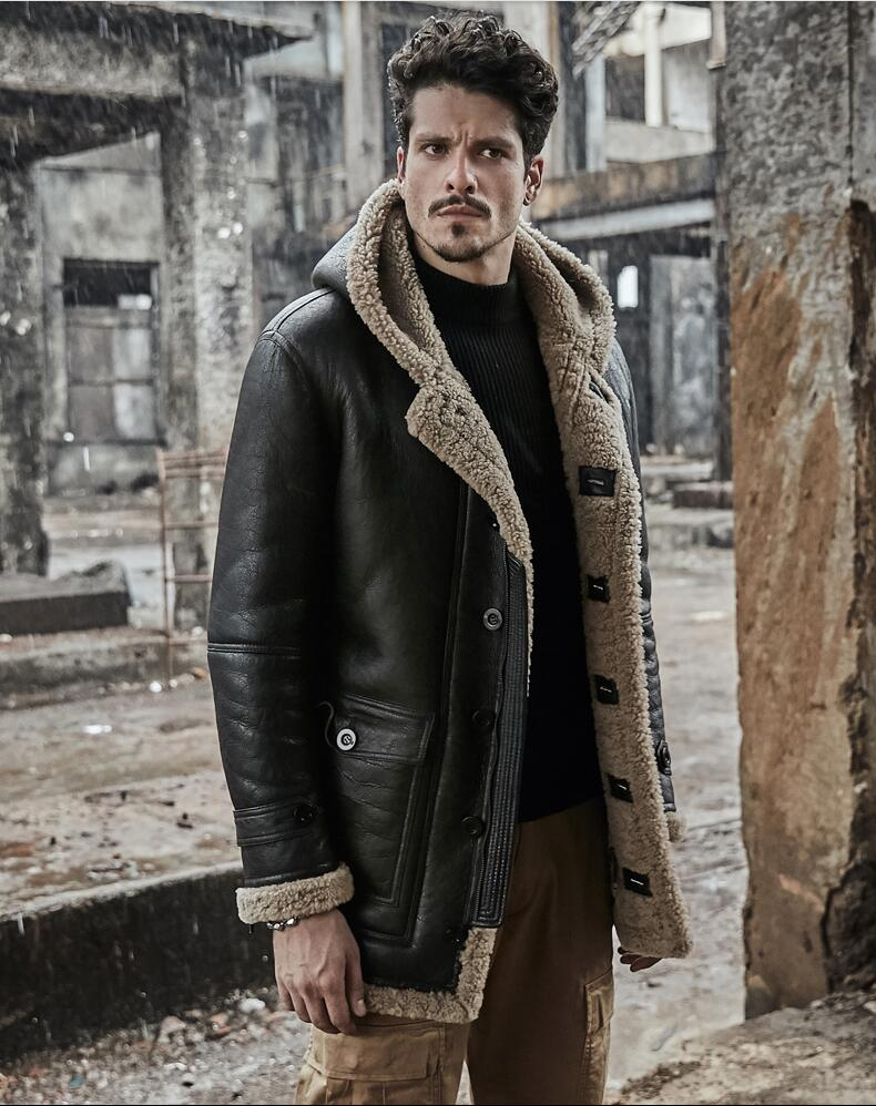 Men Winter Thicker Fur One Leather Jacket Hooded Long Sheepskin Leather Coat High-end Genuine Leather Outwear Coats S-6XL