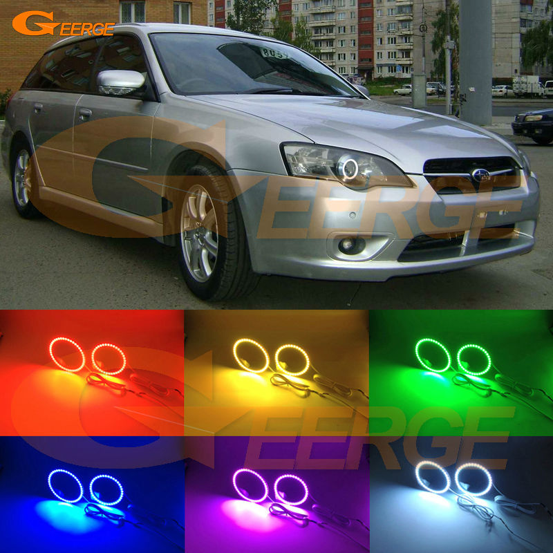 For Subaru Legacy Liberty 2003 2004 2005 2006 Excellent Multi-Color Ultra bright RGB led Angel Eyes kit Halo Rings for toyota highlander 2012 excellent angel eyes kit multi color ultrabright rgb led angel eyes halo rings