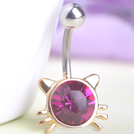 Favour Lotus Lingerie Body Jewelry Rhinestone Hello Kitty Cat Navel Belly Barbell Button Bar Ring Piercing Men Jewelry Gothic In Body Jewelry From
