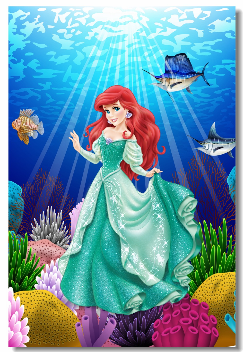 Personalized Customized Princess Ariel Name Banner Wall Poster with Frame Set