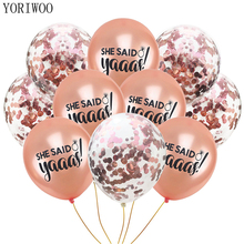 YORIWOO She Said Yes Rose Gold Latex Balloon Bride To Be Party Just Married Wedding Ballons Team Bachelorette Decorations