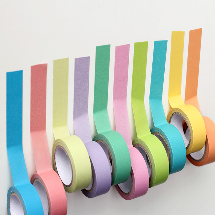 Solid Color Tape,  DIY Decorative Washi  Tape, Violet/pink/green/blue / Yellow / Pink