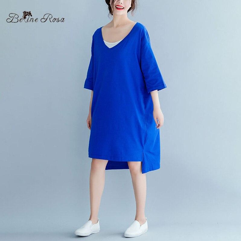 1c7ab15aa5ce BelineRosa 2019 Women's Short Sleeve T-shirt Dress Summer Simple Style Pure  Color Big Sizes Women Clothing Women Tunic JJDM0045