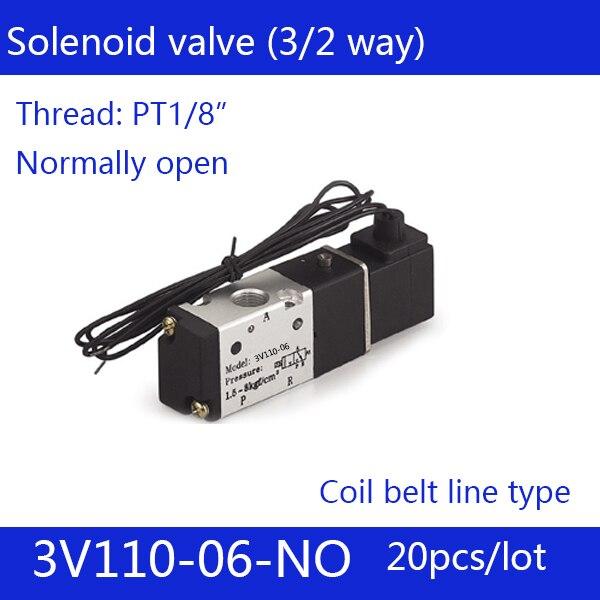 20PCS Free shipping Coil belt line type 3 port 2 position Solenoid Valve 3V110-06-NO normally open, DC24v,DC12V,AC110V,AC220V