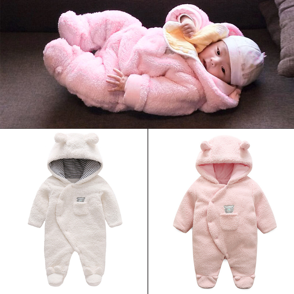 Newborn Infant Baby Girl Boy Clothes Cute Bear Ear   Romper   Jumpsuit Playsuit Autumn Winter Warm Bebes   Rompers   One Piece