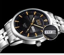 9800 Для мужчин Элитный бренд хронограф Для мужчин Бизнес часы Водонепроницаемый розовое золото полный Сталь Для мужчин кварцевые часы Relogio Masculino