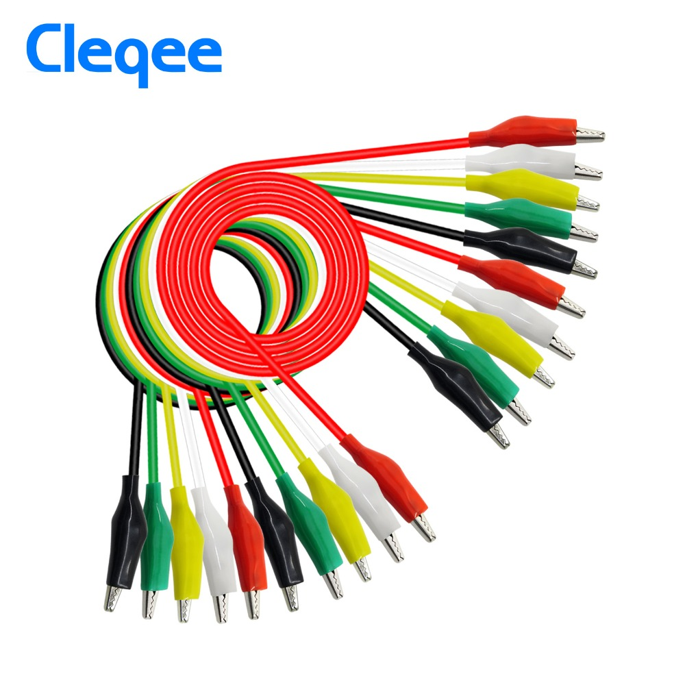 Jumper Wires With Alligator Clips | Cleqee P1025 10pcs Alligator Clips Electrical Diy Test Leads