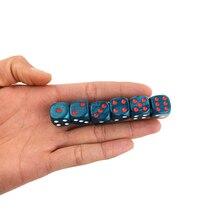 Neue 6PCS Acryl Würfel 16mm Runde Ecke Marmor wirkung Würfel Set Blau Würfel Tabelle Spiele D6 High-qualität Kunststoff Produkt