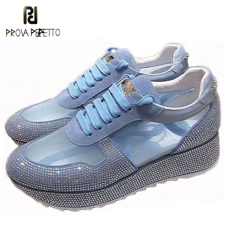 Prova Perfetto Summer Mesh Crystal Sneakers Women Fashion Transparency Platform Shoes Tenis Feminino Lace up Walking