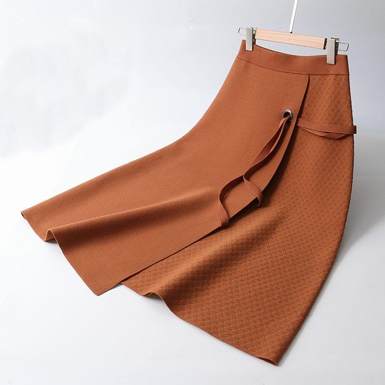 2018 Autumn Women Knitting Midi Skirts High Waist Lace Up Women Winter Skirts Saia Faldas Women