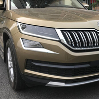 Fit For Skoda Kodiaq 2017 2018 ABS Plastic Chrome Car front fog lamp eyebrow Decoration Cover Trim car styling accessories 2pcs Chromium Styling     -
