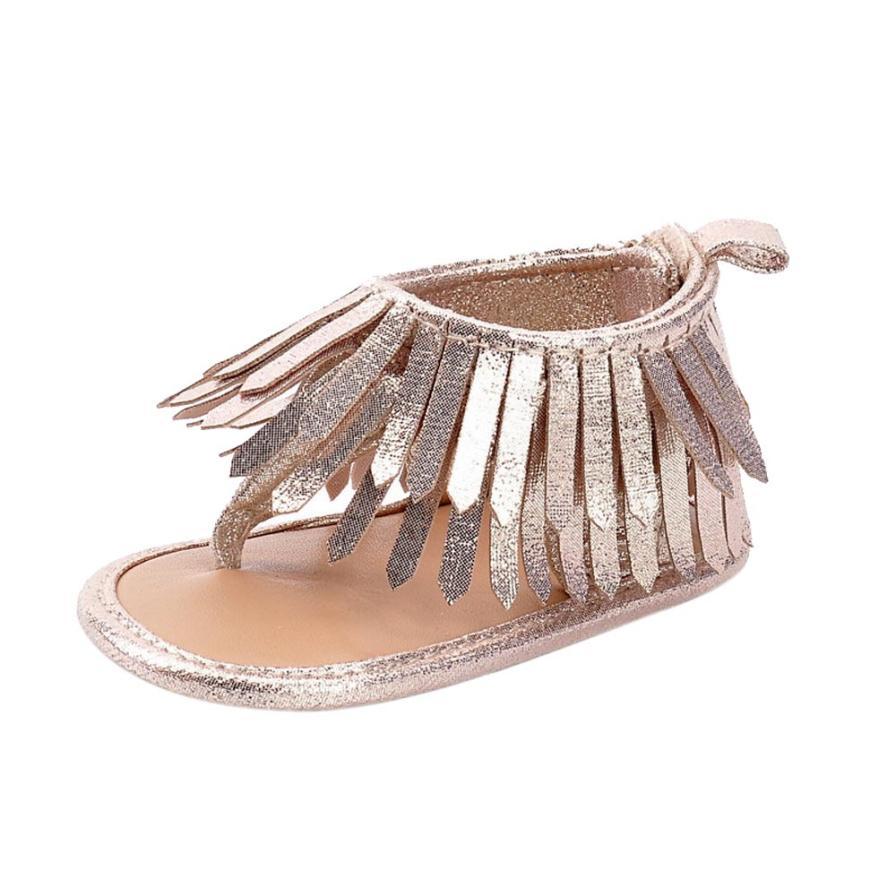 Baby Infant Kids Girl Boys Soft Sole Crib Toddler Newborn Tassels Sandals Shoes