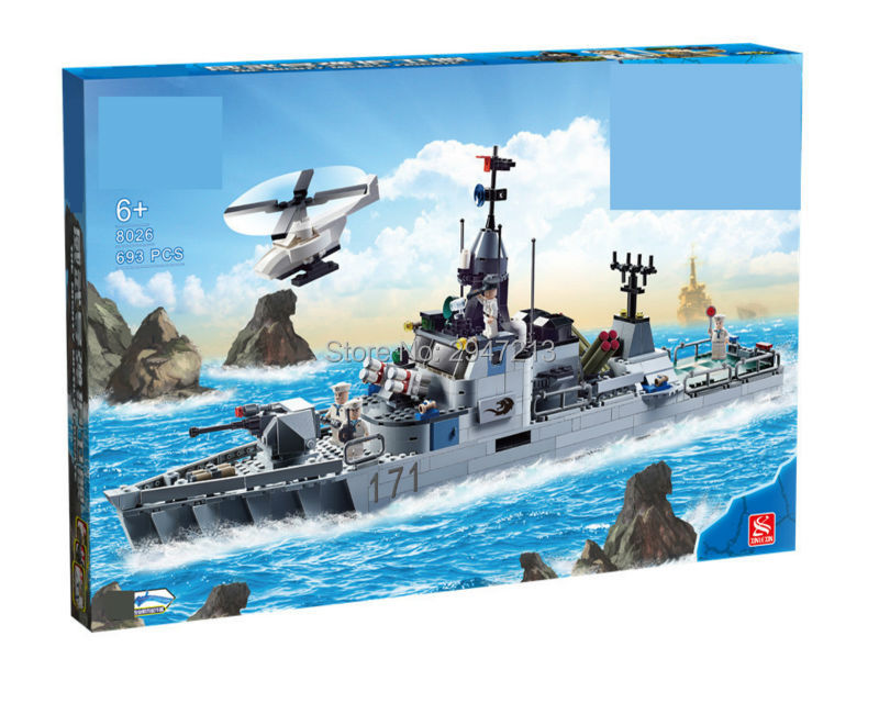 hot compatible LegoINGlys military Building blocks Marine Corps Large missile frigate with mini navy figures brick toys gift enlighten building blocks navy frigate ship assembling building blocks military series blocks girls