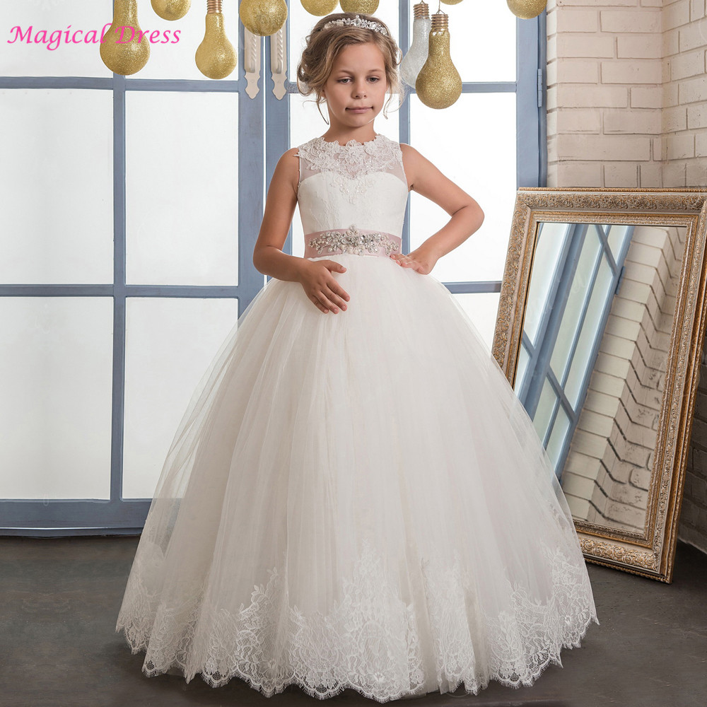 White Ivory Girls First Communion Dresses Ball Gown Lace with Sash Long Junior Flower Girl Dress for Wedding Custom Any Size 2018 purple v neck bow pearls flower lace baby girls dresses for wedding beading sash first communion dress girl prom party gown
