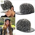 High quality Punk Style Black Golden Color Metal Rivets Snapback Caps Adult Hiphop Street Dancing DJ Baseball Hat For Men Women