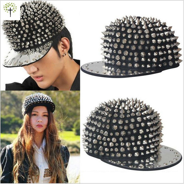 High quality Punk Style Black Golden Color Metal Rivets Snapback Caps Adult Hiphop Street Dancing DJ Baseball Hat For Men Women