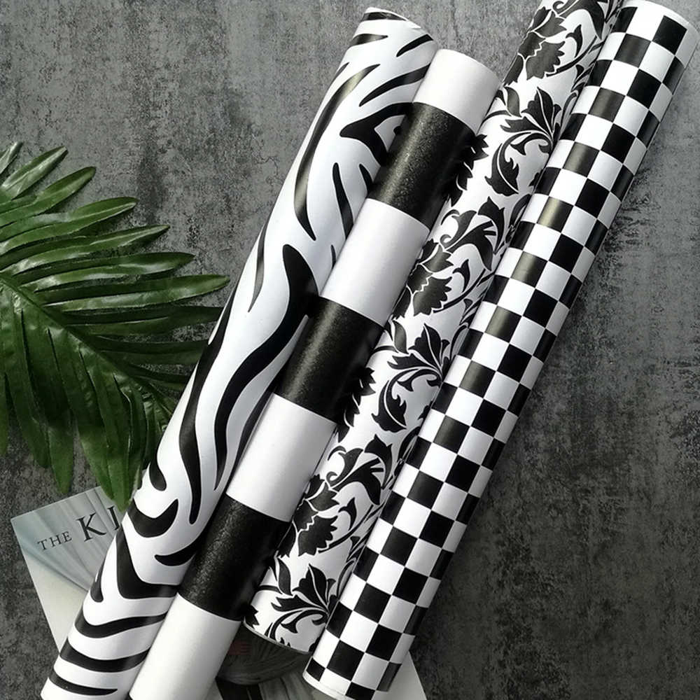 Self Adhesive Black And White Square Wallpaper Roll Refurbished