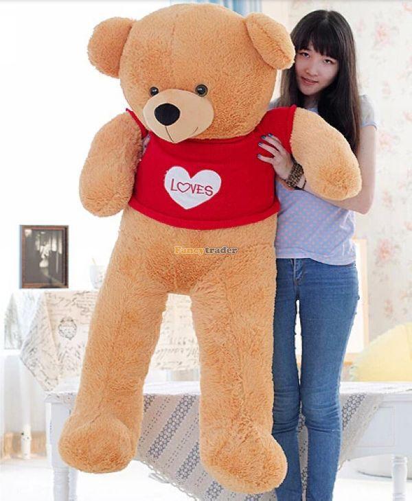 Fancytrader 160cm Stuffed Big Brown Giant Teddy Bear I Love You with Tshirt Plush Doll for Girls Free Shipping fancytrader 63 160cm pink color giant stuffed teddy bear plush bear free shipping ft90059