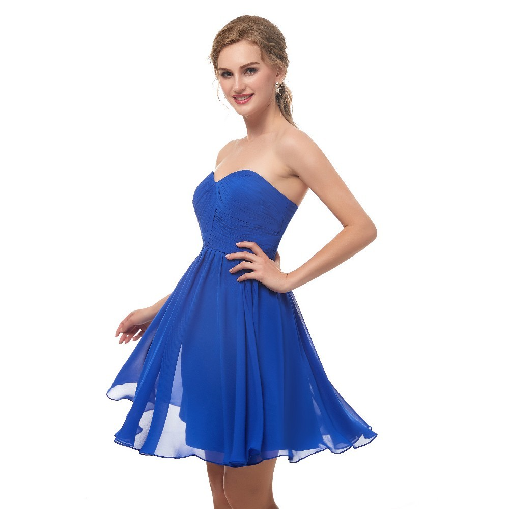 Vivian's Bridal Summer Blue Girl Homecoming   Dress   Sweetheart Sleeveless Backless Chiffon Mini   Dress   Tiered Women   Cocktail     Dress