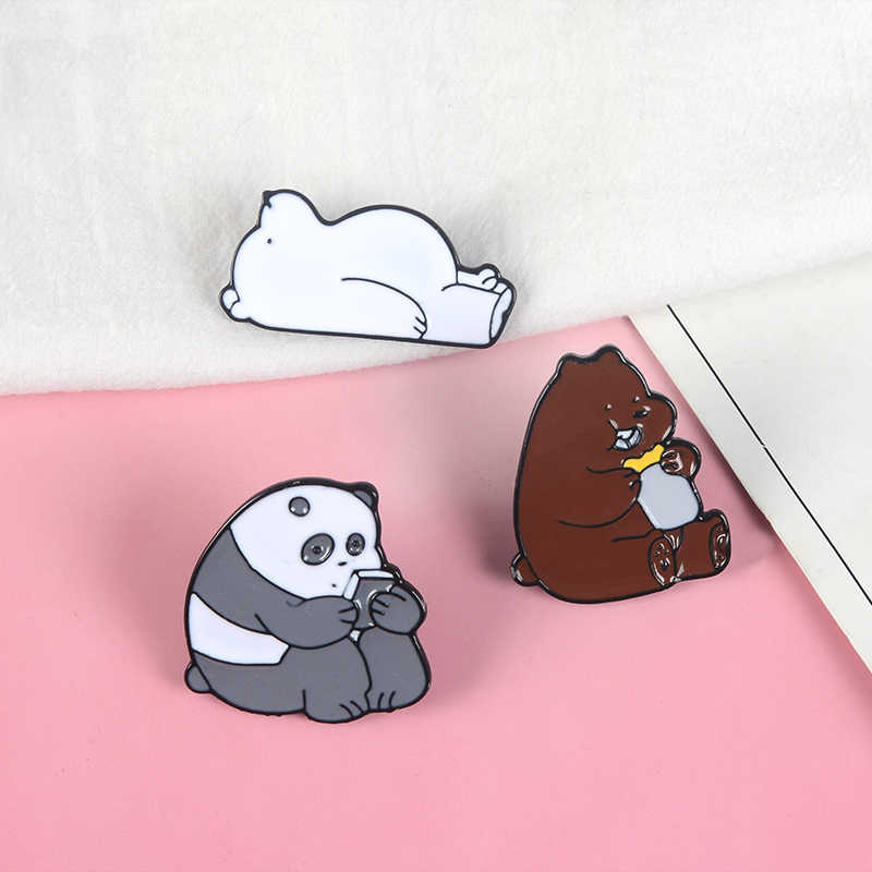 Animal Cartoon Pin Bare Bears Cute Grizzly Panda Ice Bear Denim Enamel Pins Kawaii Lapel Brooches Badges Fashion Gifts Aliexpress