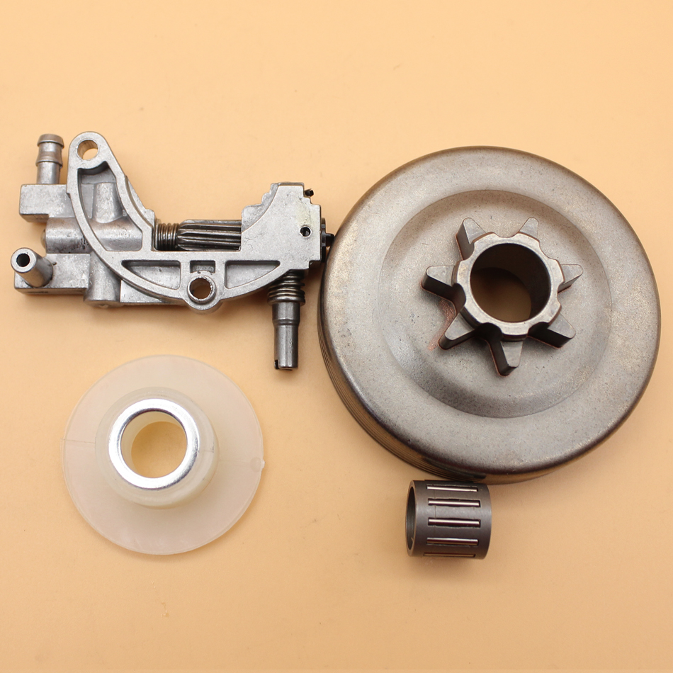 "Clutch Drum Sprocket Oil Pump Worm Gear Kit Chinese Chainsaw 4500 5200 5800 45cc 52cc 58cc Chainsaws Parts .325"" Pitch 7 Tooth"