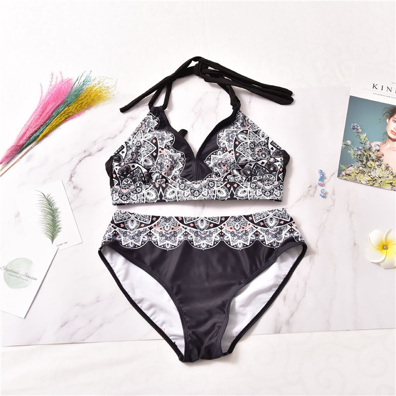 <font><b>2019</b></font> New <font><b>Sexy</b></font> <font><b>Women</b></font> Plus Size <font><b>Swimwear</b></font> <font><b>Bikini</b></font> Set High Waist Bathing Suit <font><b>Swimsuit</b></font> <font><b>Ruffle</b></font> Print 2Pcs Beachwear XL-5XL image