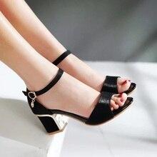 Mujer Especial PU Más El tamaño 34-43 Peep Toe Square Grueso tacones altos Zapatos de Las Mujeres Hebilla Sandalias Bombas OL Vestido Esponjoso calzado