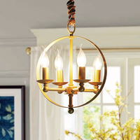 American Rural Simple Retro LED Candle Chandelier Designer Iron Restaurant Study Bed Room Decor Vintage Lights Free Shipping