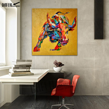 Cartoon Animal Hand-painted Bull Cow Oil Painting on Canvas Wall Unframed Adornment Home Decoration yhhp hand painted animal canvas oil painting hair donkey