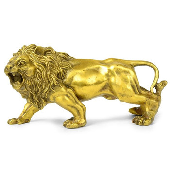 Sculpture&Carving Lions Bronze Gold Fierce Wild Animals Figure Lions Statue Home Furnishings Decoration R336