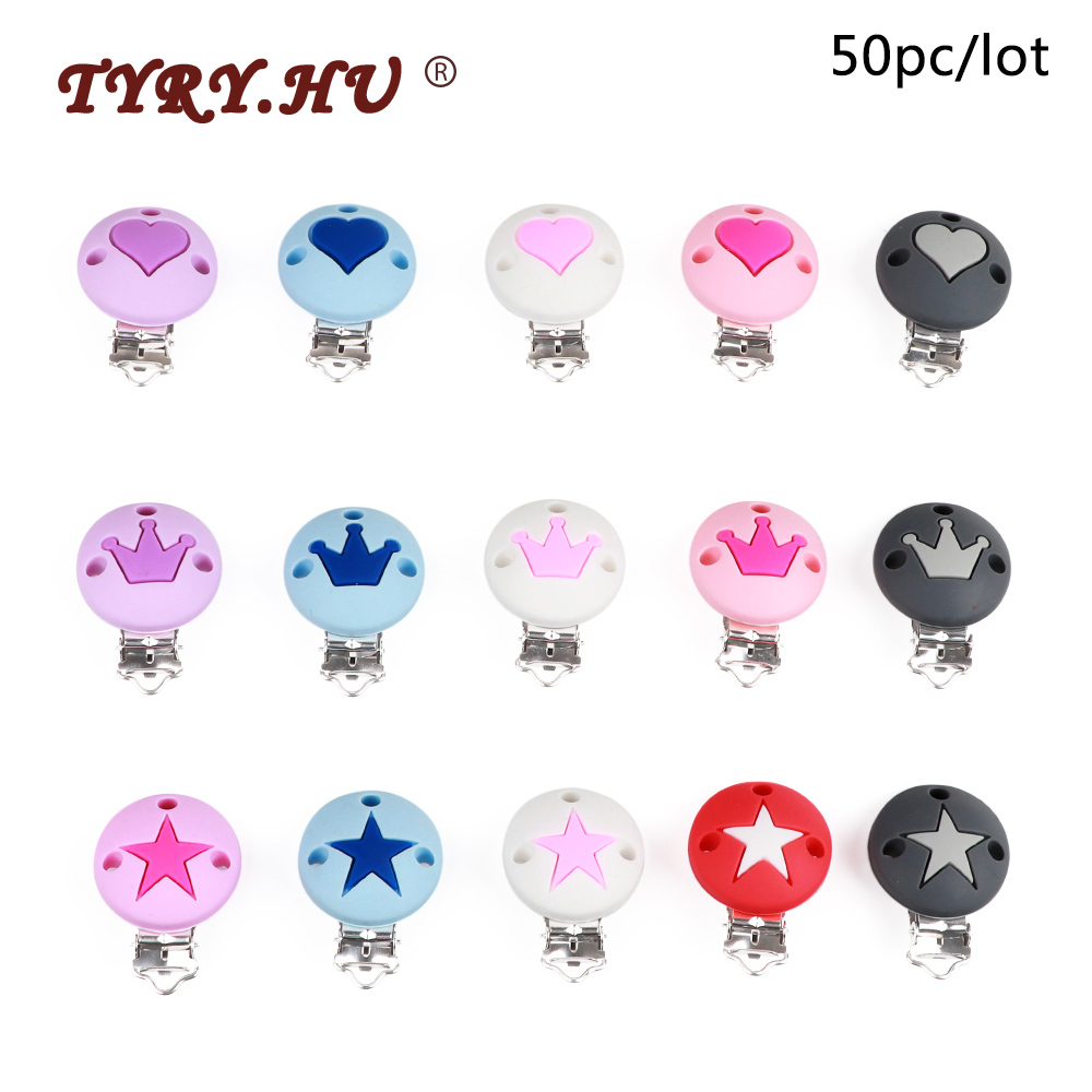 TYRY.HU 50pc/lot Pacifier Chain Clip Round Star Crown Heart Food Grade Silicone Clip BPA Free DIY Baby Teething Toys Accessories