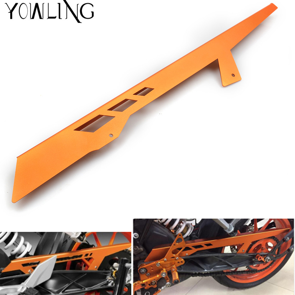 FOR KTM 200 125 390 Duke RC 125 200 390 Aluminum Motorcycle Accessories Chain Guard Cover Protector Orange DUKE RC 390 200 125 new orange motorcycle parts for ktm duke 125 200 390 cnc rear axle spindle chain adjuster blocks fit for rc 125 200 high quality