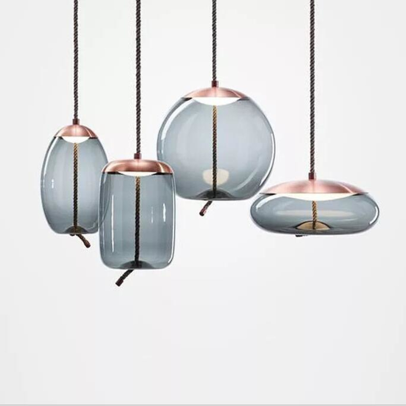 Scandinavian Nordic Living Room BROKIS Knot Pendant Lamp Bedside Luminaria Deco Glass Lustre Hanging Light Fixtures