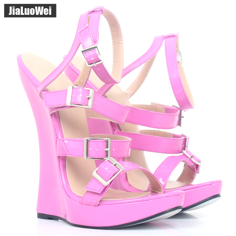 "jialuowei 2018 New Arrive 7"" High Wedge Heel Cross-tied Sandals Open-toe Sexy Women Summer Party Dress Shoes Plus Size 36-46"