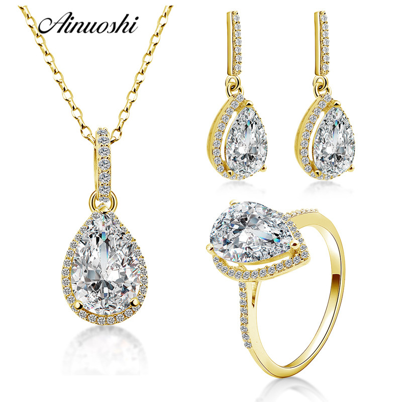 AINUOSHI 10K Solid Yellow Gold Women Jewelry Sets Pear Cut Big Stone Droplet Pendant Ring Drop Earring Luxury Lady Jewelry Sets 210pcs lot 10 14mm pear drop crystal fancy stone point back teardrop droplet glass stone for jewelry making diy accessory