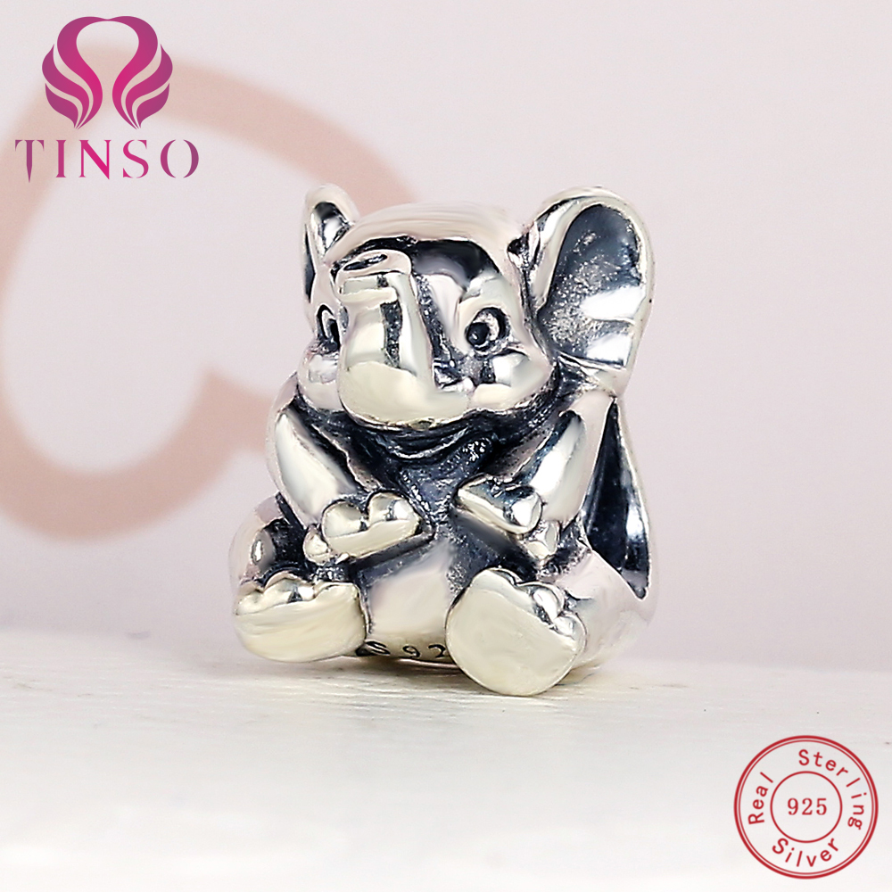 100% Authentic 925 Sterling Silver Elephant Beads Fit Pandora Charms Bracelets DIY Original Silver for Jewelry Making Accessory