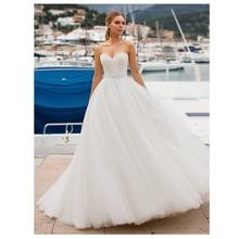 Lorie Wedding Dress Lace up Back A line Bride Dress Lace Appliques Strapless White Vestido De Casamento Wedding Gowns