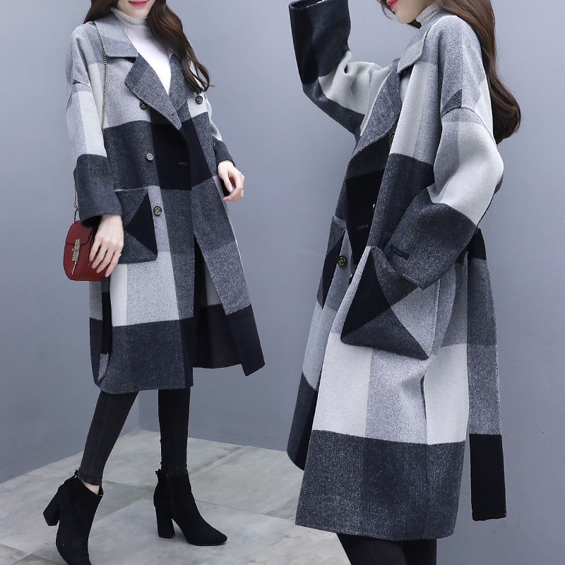 Woolen Lattices Long Wind Coat Windbreakers Trench Female Clothes Fashionable Cardigan For Women Raincoat Casaco Feminino