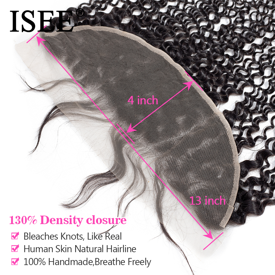 ISEE HAIR Mongolian Kinky Curly Lace Frontal Closure 13 * 4 Swiss - Mänskligt hår (svart) - Foto 3