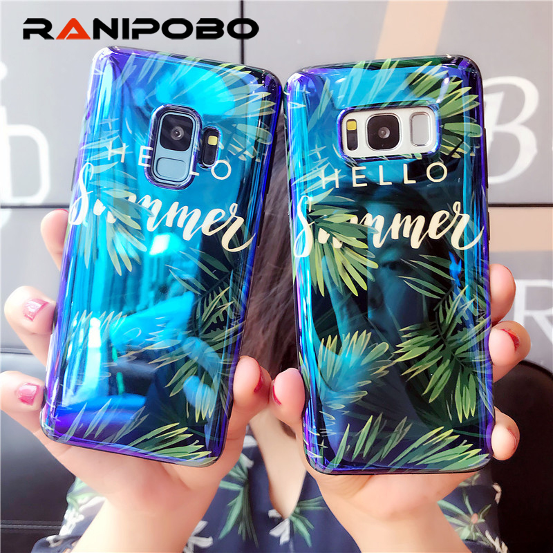 Luxury Blu-Ray leaf Phone Case For Samsung Galaxy S7Edge S8 S9 Plus Note 8 Summer Plants leaves Soft IMD Glossy Back Cover Coque