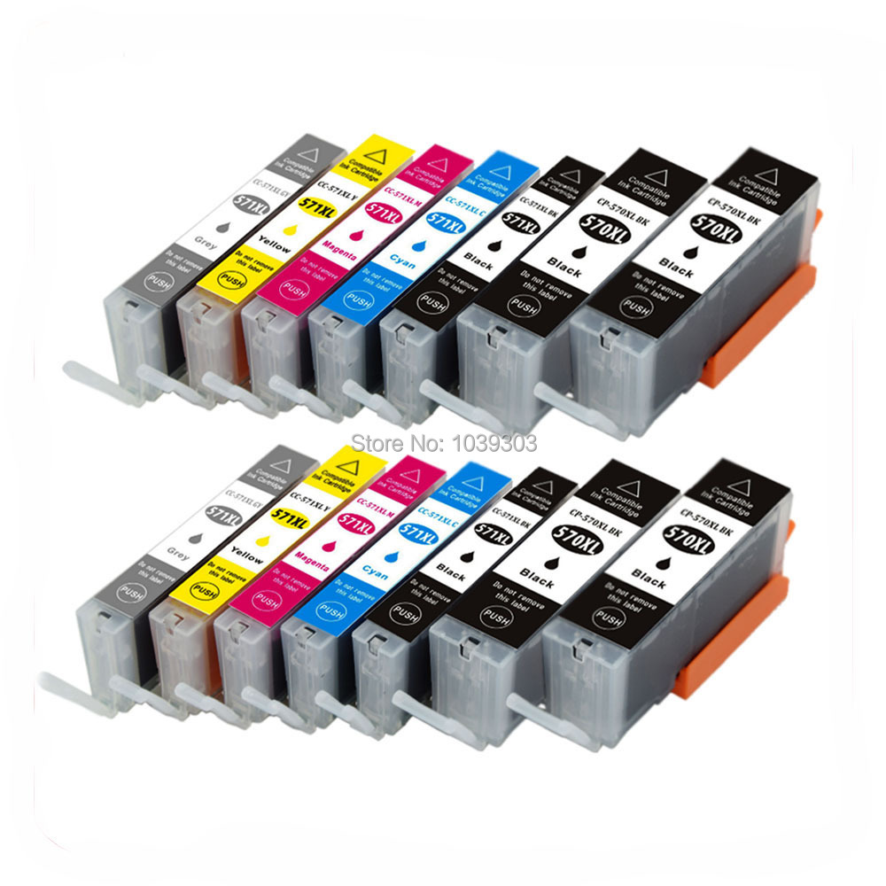 14Pk Compatible Ink Cartridge PGI 570 CLI 571 Inks For Canon PIXMA MG7750 MG7751 MG7752 MG7753 Printer Ink with Chips(4Black, free shipping pgi 725bk cli 726bk c m y gy compatible for canon ink cartridge for canon mg5270 mg5170 mg6170 mg8170 mg5370