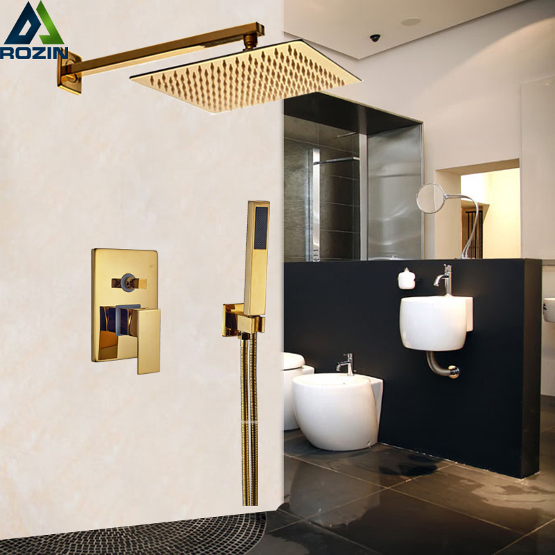 Golden 10 Ultrathin Showerhead Bathroom Shower Faucet Set Wall Mount Single Handle Mixer Tap w/ Handshower bathroom chrome shower faucet set with thermostatic mixer valve wall mount 8 ultrathin rain showerhead handshower