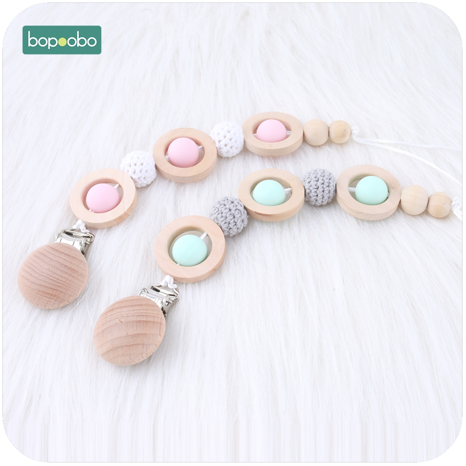Bopoobo 1PC Baby Pacifier Clip Dummy Clip Wood Silicone Beads Chain Non-toxic Infant Soother Nipple Strap Baby Teether
