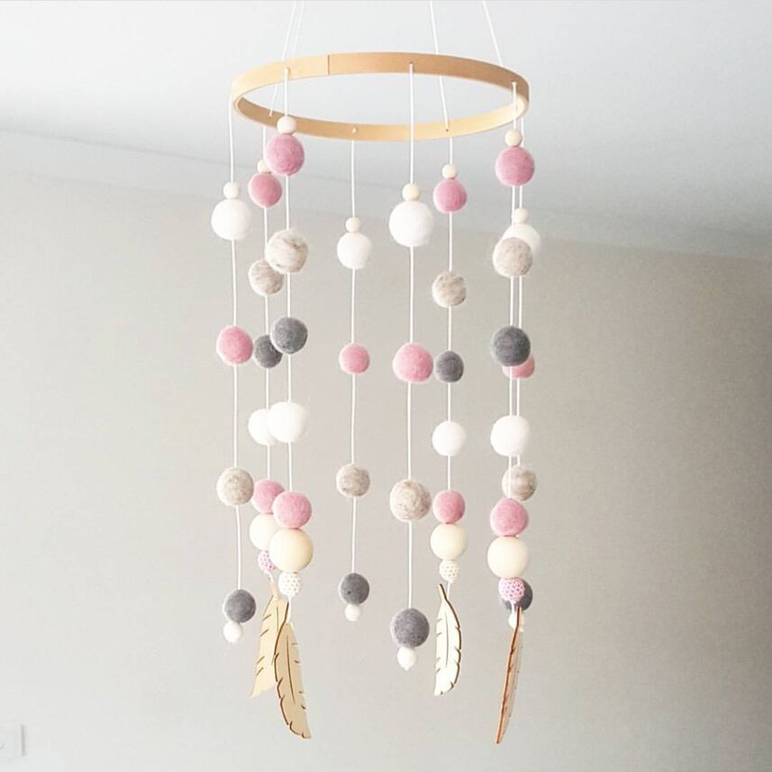 DIY Macaron Color Hair Ball Wind Chimes Decor Banner Baby Room Decoration Bedding Bumpers Kids Party Balls Kids Girls Room Decor