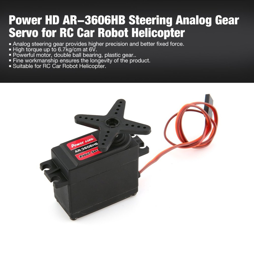 Power HD AR-3606HB 6.7kg Steering Torque Analog Plastic Gear Servo for RC Car Buggy Robot Helicopter Drone Parts