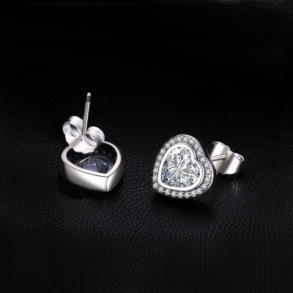 JewelryPalace 925 Sterling Silver OnLy Heart Earring Studs 925 SterLing SiLver Jewelry Wedding Earring for Women Fine Jewelry