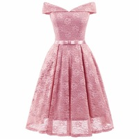 Women Off Shoulder Lace Dress Pink 2019 Summer Robe Vintage 1950s Rockabilly Retro Casual Tunic Elegant Chic Prom Party Dresses