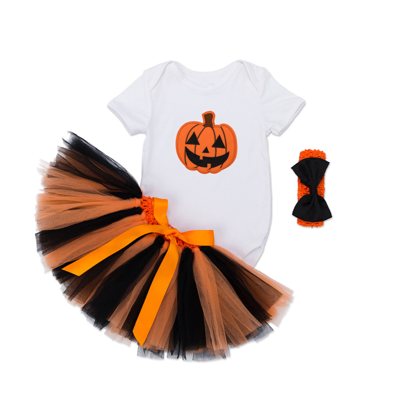 Infant Pumpkin Halloween Costume | 2017 Newborn Halloween Short Sleeve Fancy Clothes Baby Pumpkin Halloween Costumes Infant Tutu Dress Set Party Outfits