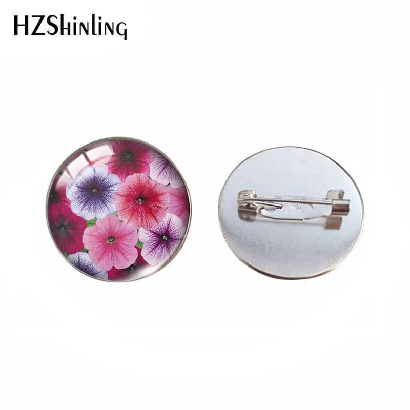 Warna-warni Yang Indah Bunga Pola Bros Pin Kaca Cabochon Perhiasan Pin Vintage Bunga Poppy Bunga Buatan Tangan Perhiasan Pakaian Pin